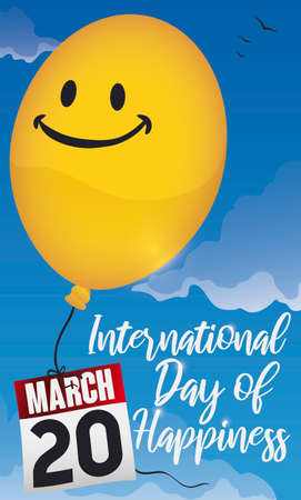 Cute yellow balloon flying in the sky with a smiley face and a loose-leaf calendar with reminder to celebrate international Day of Happiness in March 20.