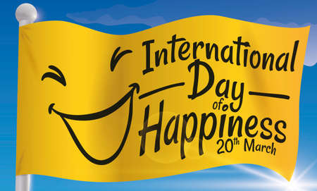 Banner with a waving yellow flag with a beautiful sky view to celebrate International Day of Happiness this 20th March.