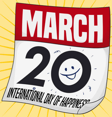 Commemorative loose-leaf calendar decorated with a smile in the date to celebrate International Day of Happiness in March 20.  イラスト・ベクター素材