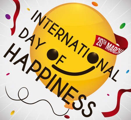 Happy yellow balloon with ribbon remembering at you the date to celebrate International Day of Happiness with a big party.