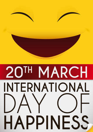 Loose-leaf calendar with reminder date to celebrate International Day of Happiness and a cute, yellow smiling face in the top.