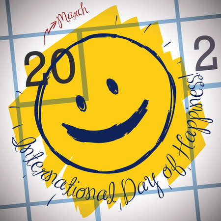 Cute, smiley doodle face in a calendar grid, reminding at you to celebrate International Day of Happiness this 20th March. Çizim