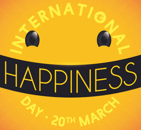 Yellow design with smiling emoji made with letters forming a circle and a black sign forming the smile to celebrate International Day of Happiness in March 20.