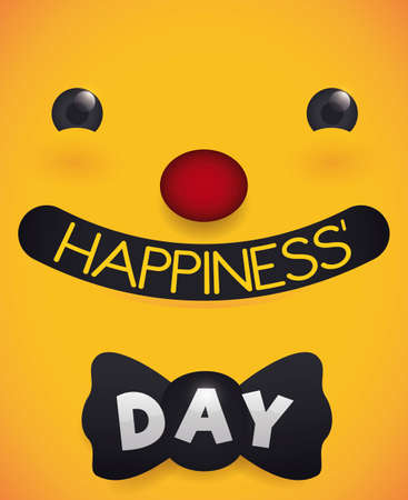 Smiling face like a clown with red nose and a bow tie over yellow background, ready to celebrate Day of Happiness.