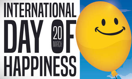 Banner with a yellow smiling balloon in a sky view promoting International Day of Happiness this 20th March.