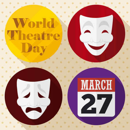 Buttons with distinctive elements to celebrate World Theater Day: comedy and tragedy masks and calendar with reminder date for this celebration.