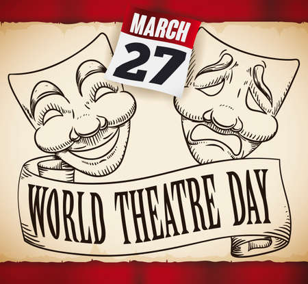 Commemorative scroll with tragedy and comedy masks in hand drawn design, over red curtains and calendar with the date to celebrate World Theater Day: 27th March.