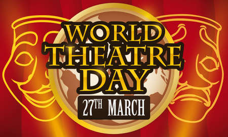 Commemorative banner for World Theater Day decorated with red curtains in the stage, comedy and tragedy masks and a round button with globe and reminder date: 27th March.