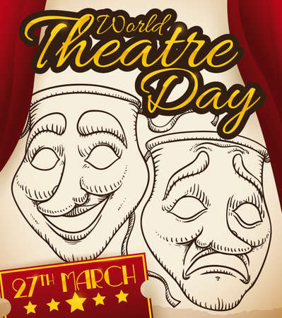 Stage with scroll and traditional comedy and tragedy masks draw in it, red curtains and ticket with the date to celebrate International Theater Day: 27th March.