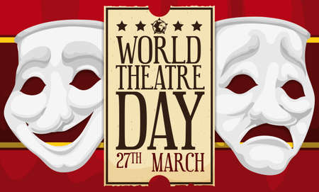 Comedy and tragedy masks over stage curtain and ticket promoting theater season during World Theater Day celebration this 27th March. Illustration