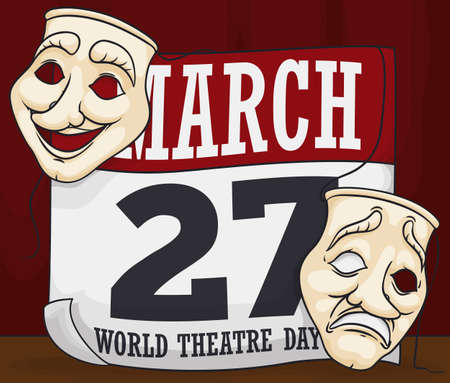 Commemorative design for World Theater Day with comedy and tragedy masks over loose-leaf calendar with the date: 27th March.