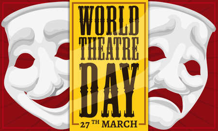 Banner with red curtains and porcelain masks representing comedy and tragedy behind a golden ticket to celebrate World Theater Day this 27th March. Illustration