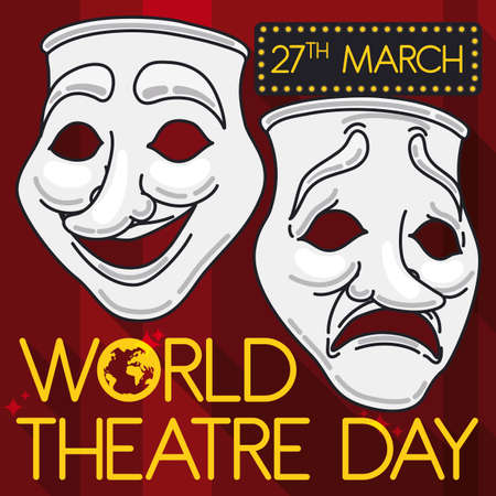 Classic masks representing comedy and tragedy in flat style, outline and long shadow over a stage with red curtains promoting with a lighted sign the World Theater Day this 27th March.