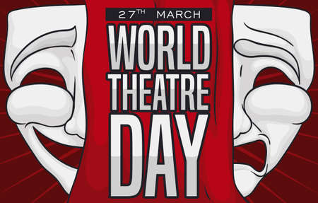 White comedy and tragedy masks with a red curtain in the middle of it, promoting World Theater Day celebration this 27th March.