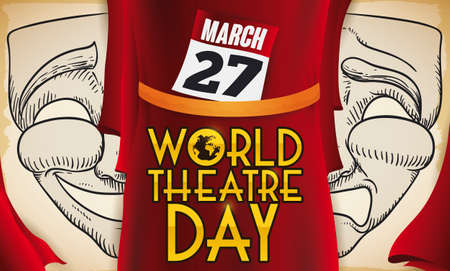 Scroll with masks draw: one with the comedy face and the other one with tragedy gesture and a red curtain with reminder to celebrate World Theater Day this 27 March.