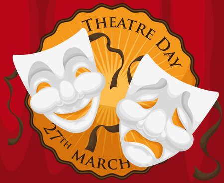 Stage with red curtains, round label with greeting and masks ready to begin the performance during World Theater Day in March 27. Illustration