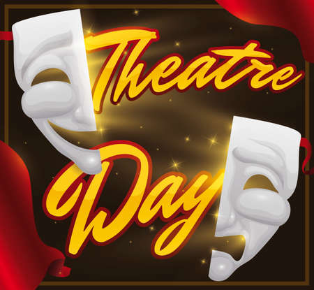 Frame with golden message, traditional comedy and tragedy mask with magical light and glows promoting a theatrical night during Theater Day.
