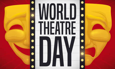 Golden mask with two pieces: one for comedy and the other one for tragedy with theatrical sign with lighted bulbs presenting World Theater Day.