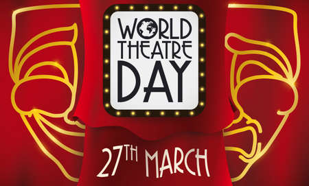 Red curtains and luminous commemorative sign, comedy and tragedy mask promoting theatrical show during World Theater Day this 27th March. Illustration