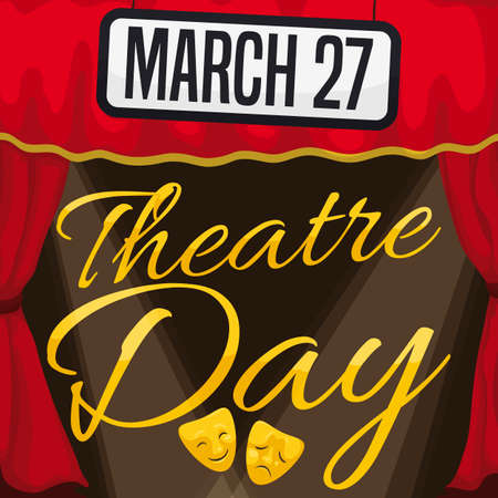 Stage decorated with red curtains, sign with the date and lights ready for special presentation in the Theater Day celebration this March 27. Illustration