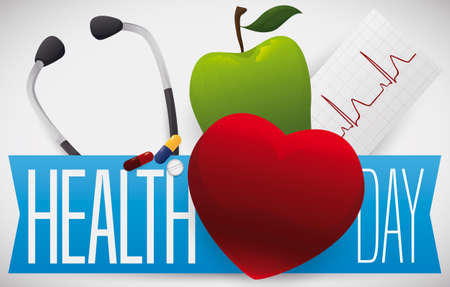 Red heart, green apple, stethoscope, electrocardiogram paper and pills, reminding at you to celebrate Health Day.