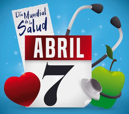 Commemorative design with glows to celebrate World Health Day (written in Spanish): calendar, red heart, green apple, squared cardiogram paper with greeting and stethoscope.