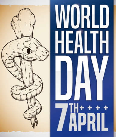 Commemorative scroll with Asclepius Staff in hand drawn style and a blue label with sign promoting World Health Day this 7th April. Illustration