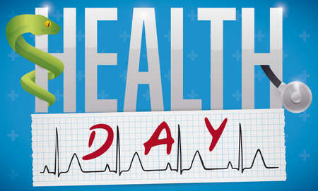 Commemorative banner for Health Day with squared electrocardiogram paper, Asclepius snake tangled in the letter