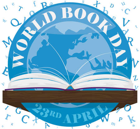 Commemorative round button with globe inside of it, a open book on a wooden lectern and white background with letters scattered to celebrate World Book Day in April 23.