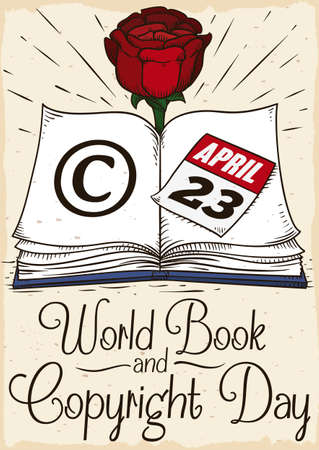Design in hand drawn style with open book in a page with copyright symbol, reminder calendar and beautiful rose reminding at you to celebrate World Book and Copyright Day in April 23.