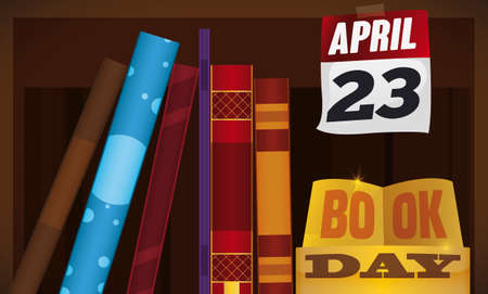 Fancy shelf with stacked books, golden trophy and loose-leaf calendar reminding at you to celebrate Book Day in April 23.
