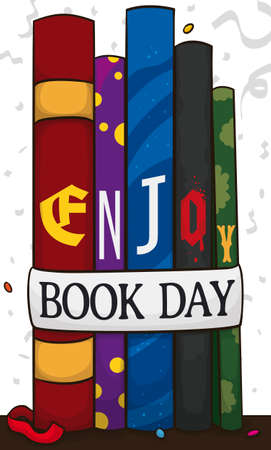 Books standing with colorful spines and designs in a party with streamers and confetti, attached with label inviting you to enjoy the Book Day.