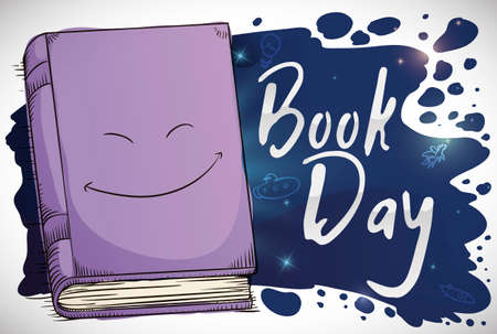 Happy book in hand drawn style and splatter like a space with glows and doodles to commemorate the universe of stories and imagination in the Book Day celebration.