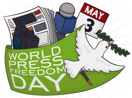 Flying dove holding an olive branch and a pen, wrapping some elements to celebrate World Press Freedom Day: microphone, newspaper, camera and calendar reminding the date this 3rd May.