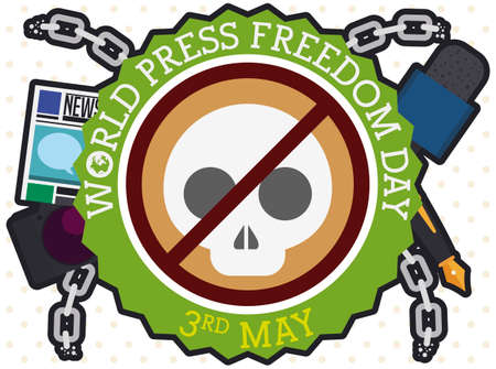 Button with skull and forbidding signal, promoting the end of the violence against journalists during World Press Freedom Day with camera, newspaper, microphone, pen and broken chains.