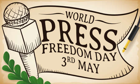 Commemorative design to celebrate World Press Freedom Day this 3rd May with microphone and ribbon drawings over greeting scroll and olive branch. Ilustración de vector
