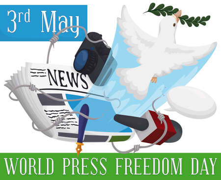Dove with olive branch breaking a barbed wire and releasing journalist's working elements, symbolizing the freedom speech during World Press Freedom Day this 3rd May. Illustration