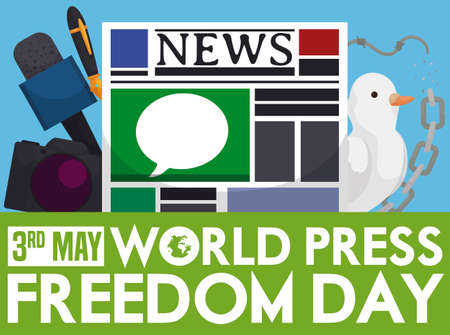 Microphone, camera, fountain pen, newspaper, dove, broken chain and barbed wire symbolizing the speech freedom during World Press Freedom Day celebration in May 3.