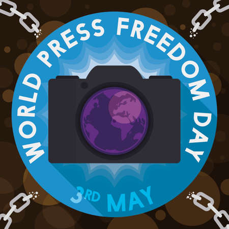 Button protecting a camera from chains, symbolizing and promoting the photojournalism and journalism protection during World Press Freedom Day in May 3.