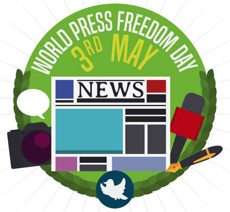 Round button decorated with wreath and a dove silhouette with communication elements: newspaper, camera, fountain pen and mic representing the journalist work during World Press Freedom Day.