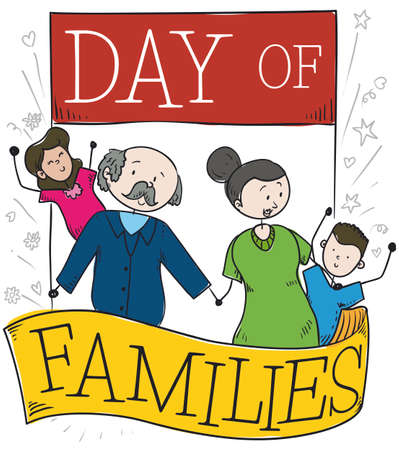 Happy family compounded by, grandpa, grandma, grandson and granddaughter, all together sharing love and celebrating Day of Families over a calendar and ribbon.