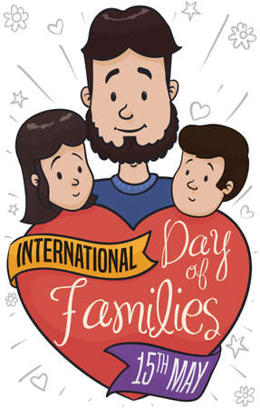 Happy single father behind a big heart decorated with ribbons, raising and caring his children during International Day of Families this 15th May.