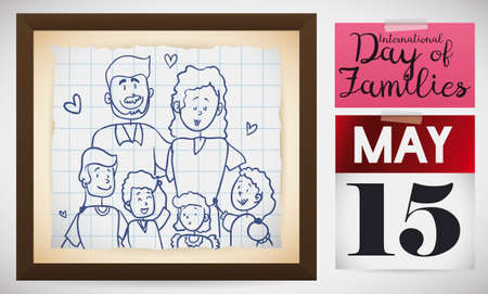 Adorable portrait in doodle style over notebook paper inside a frame with happy family celebrating International Day of Families: mom, dad, sons and daughters with a calendar and note.