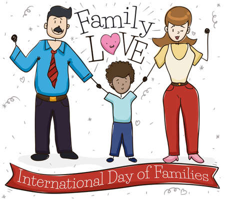 Greeting ribbon and happy family celebrating International Day of Families sharing with their adopted son and giving much love.