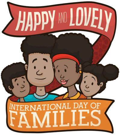 Happy family wrapped by a greeting ribbon, with dark-skinned young mom, dad and children, celebrating International Day of Families with much love.