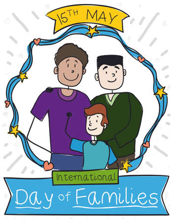 Happy dads with their son celebrating with love their adoption, inside a frame decorated with stars, hearts and ribbon in the International Day of Families this 15th May.