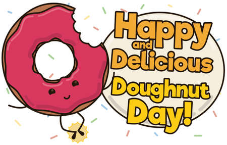 Cute donut under sprinkle shower jumping and celebrating Doughnut Day with a greeting sign.