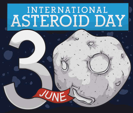 Asteroid belt scene with reminder date to celebrate International Asteroid Day this 30th June, with a close up view of a planetoid with craters and ribbon.