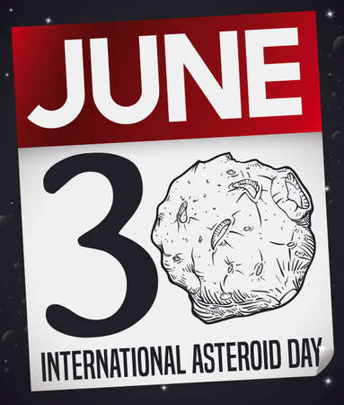 Loose-leaf calendar with reminder date, floating in the space to celebrate International Asteroid Day with an asteroid in hand drawn style with some craters.