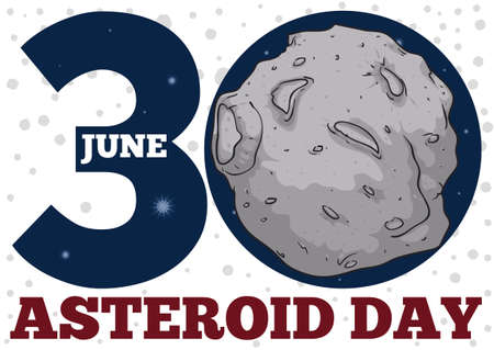 Reminder date with asteroid inside number '0' and spotted pattern to commemorate Asteroid Day in June 30.
